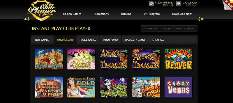 club player casino games