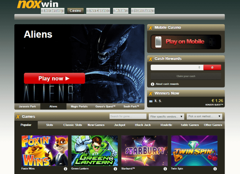 noxwin casino bonus code