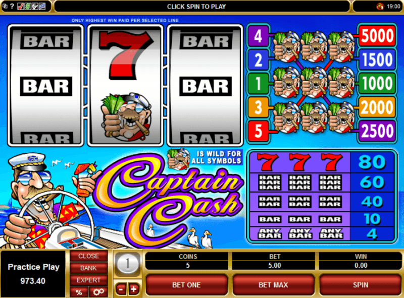 Captain Cash Slot Machine Review and Free to Play Game