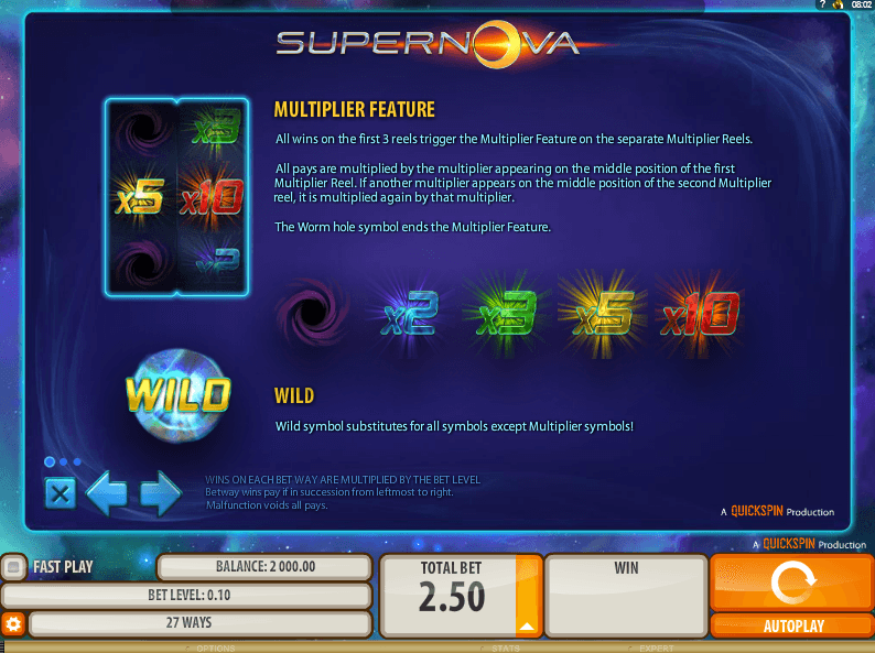 Supernova™ Slot Machine Game to Play Free in QuickSpins Online Casinos