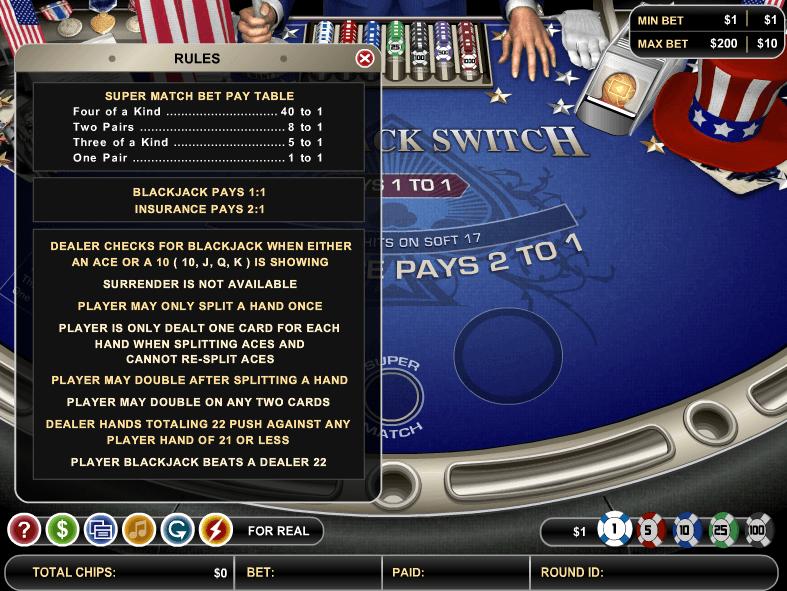 Switch blackjack card game