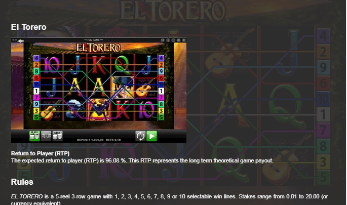 el torero casino game online
